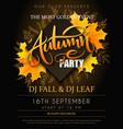 autumn party poster with lettering yellow vector image