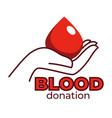 blood donation isolated icon human hand and blood vector image vector image