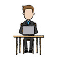 business man sitting people work laptop computer vector image