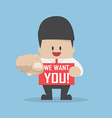 Businessman pointing finger towards you with word vector image vector image