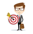 businessman with a big target vector image vector image