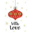 card with christmas decoration in scandinavian vector image vector image