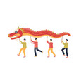 chinese men dancing while holding red dragon vector image vector image