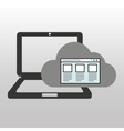 cloud computer connected web page vector image vector image