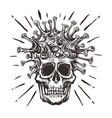 covid-19 - virus - human skull hand drawn black vector image