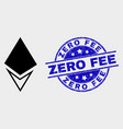crystal icon and distress zero fee stamp vector image vector image