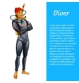 Diver man isolated with space for text vector image