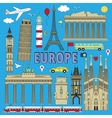 Europe travel colour set vector image vector image