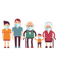 family wearing protective medical masks vector image