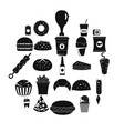 fast food icons set simple style vector image