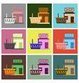 flat icons set shop basket vector image vector image