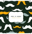 Fun silhouette mustaches frame seamless pattern vector image