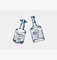 glass bottle with strong drink cheers toast vector image vector image