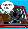 grim reaper drive car pop art vector image vector image