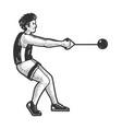 hammer throw athlete sketch vector image vector image