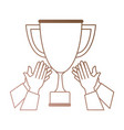 hands with trophy cup award icon vector image