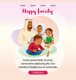 happy muslim family landing page template vector image