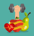 healthy food and fitness icons vector image