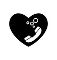 heart black and telephone communication vintage vector image vector image