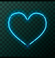 heart-shaped bright blue neon frame template on vector image vector image