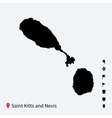High detailed map of Saint Kitts and Nevis with vector image