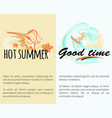 hot summer good time with shell and surfing man vector image