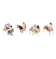 isometric online education man and woman sitting vector image vector image