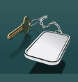 key with keychain on a chain with a place vector image vector image