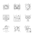 Linear icons for basketball vector image vector image