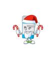 medical bottle humble santa cartoon having candies vector image vector image