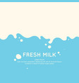 modern poster fresh milk with splashes on a light vector image vector image