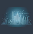new york city skyline flat vector image vector image