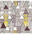 Partially colored outline town seamless pattern vector image vector image