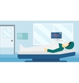 Patient lying in hospital bed with heart monitor vector image vector image
