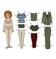 redhead paper doll vector image vector image
