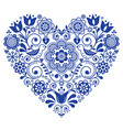 scandinavian folk heart design valentines day vector image vector image