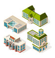 school buildings isometric 3d pictures of vector image vector image