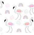 seamless pattern with flamingo and hand drawn vector image vector image