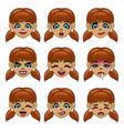 set girl face with various face expression in vector image