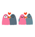 set with kissing pigeons vector image