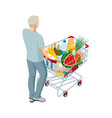 shopping cart full food man pushing vector image