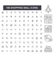 shopping mall editable line icons 100 set vector image vector image