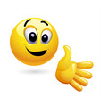smiley giving his hand for handshake vector image