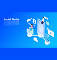 social media concept flat and isometric style vector image