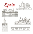 Spanish attractions icon for tourism design vector image