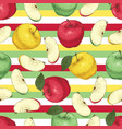 striped seamless pattern with apples vector image