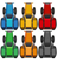 Top view of tractors in different colors vector image