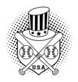 usa baseball sport game in black and white vector image