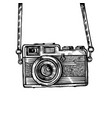 vintage old photo camera drawn vector image