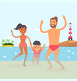 walking baat beach resort clear ocean water vector image vector image